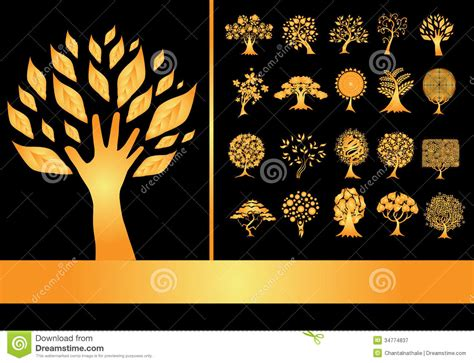 Golden Set set of 20 golden tree silhouettes stock vector image