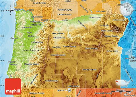 a political map of oregon physical map of oregon political shades outside