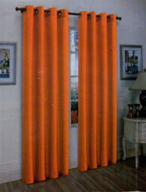 orange curtain panels 2pcs mira orange solid grommet faux silk window curtains