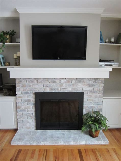 how to whitewash a fireplace brick fireplace makeover