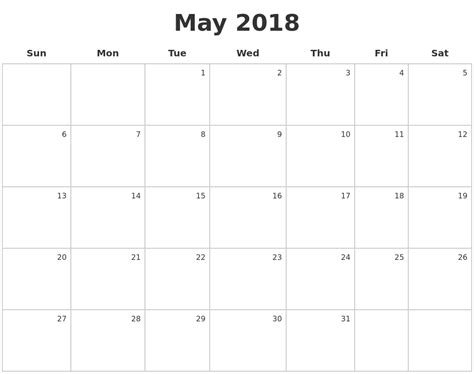 how to make calendar 2018 may 2018 make a calendar