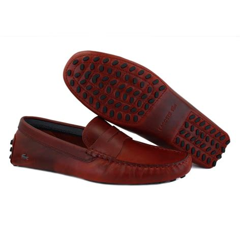 Lacoste Slip On Kulit 00 lacoste concours 9 mens slip on leather mocassins burgundy
