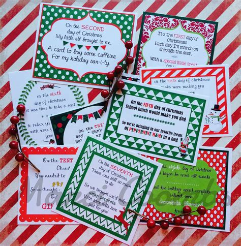 12 days of christmas gifts for teachers marci coombs 12 days of printable tags other printables back in my etsy shop