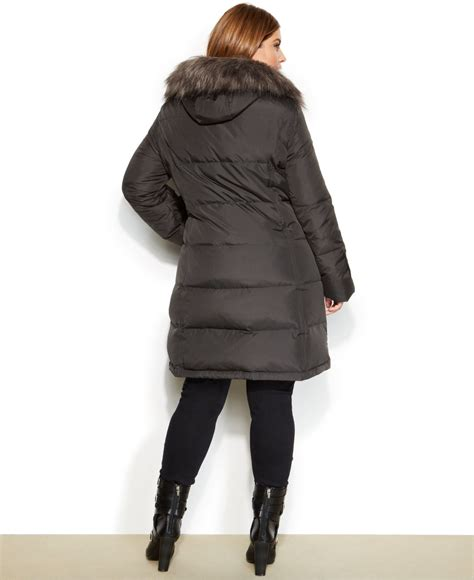 Calvin Klein Hooded Faux Fur Trim Quilted Puffer Coat by Calvin Klein Plus Size Hooded Faux Fur Trim Quilted