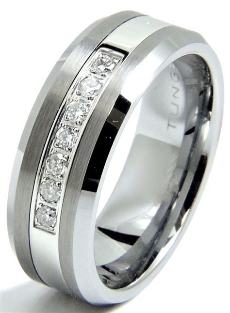 s tungsten wedding band ring 8mm real diamonds