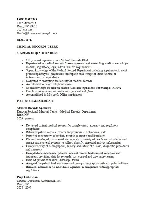 sle records clerk resume free resume sle