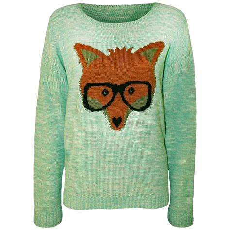 Fox Sweater new womens fox with glasses print knitted jumper