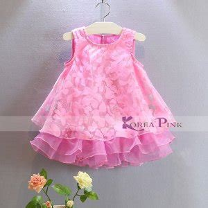 Stelan Koreapink Pink Elegance Gaun Anak Perempuan jual baju anak koreapink stripe flower dress baru baju gaun dress anak terbaru murah