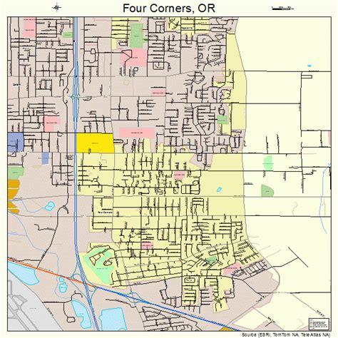 road map four corners usa four corners oregon map 4126750