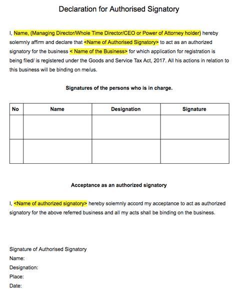 authorised signatory cancellation letter to bank gst registration declaration for authorised signatory