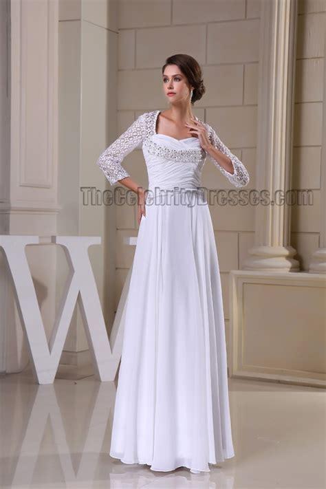 White Floor Length Graduation Dress floor length white sleeve prom gown evneing formal dress thecelebritydresses
