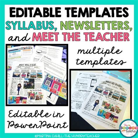 Editable Syllabus Templates Editable Meet The Teacher Templates And Editable Newsletter Meet The Newsletter Templates