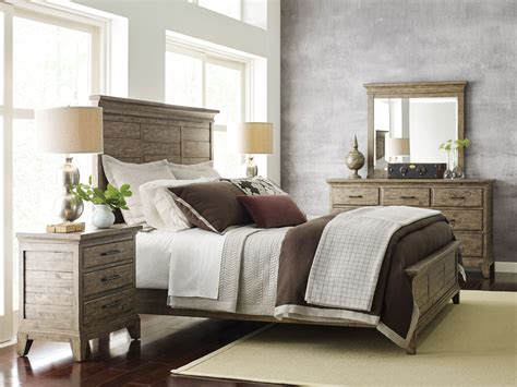 stone bedroom furniture plank road stone jessup panel bedroom set from kincaid