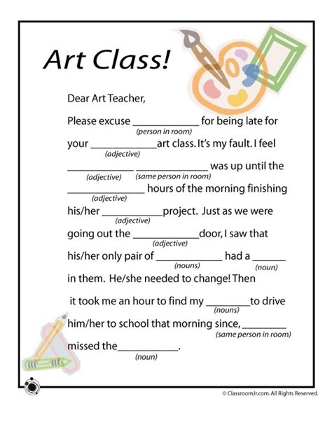 printable elementary art worksheets mad libs worksheets for the art class art worksheets