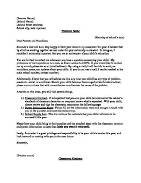 Parent Letter School Supplies Classroom Contract Parent Letter Information Sheet School Supply List
