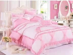 Girls Flower Bedding - girls pink white little floral bowtie ruffled frilly duvet