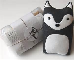 diy kit wolf woodland pillow plush fleece fabric animal