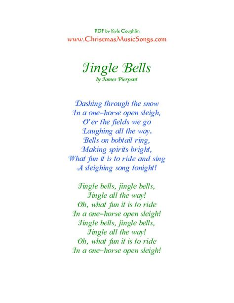 song lyrics printable version printable pdf lyrics for jingle bells and more than two