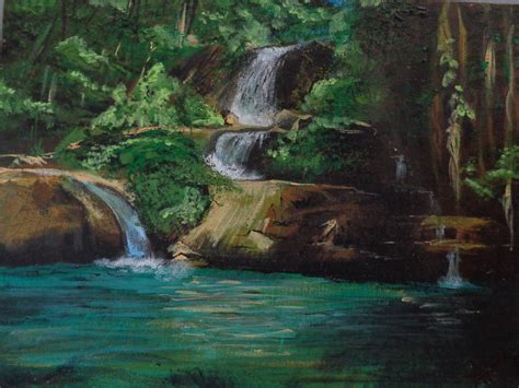 acrylic painting waterfalls acrylic painting jamaican waterfall available at www