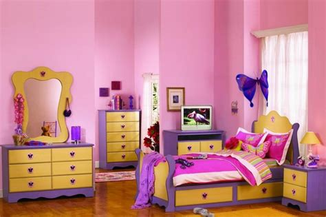 girls bedroom gorgeous yellow pink and purple girl bedroom decorating design ideas using curved
