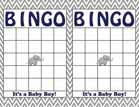 baby shower bingo blank card template blank baby shower bingo cards printable baby boy