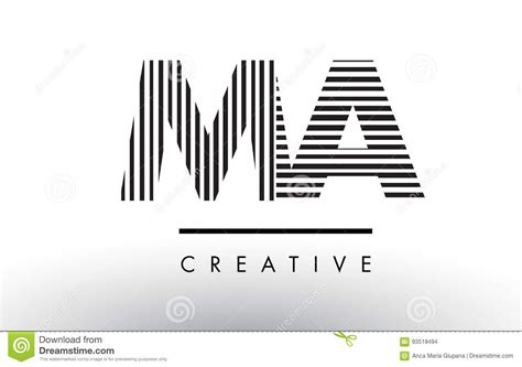 logo black and white lines ma m a black and white lines letter logo design stock