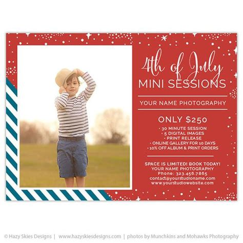 4th of july photo card template 4th of july mini session template stripes