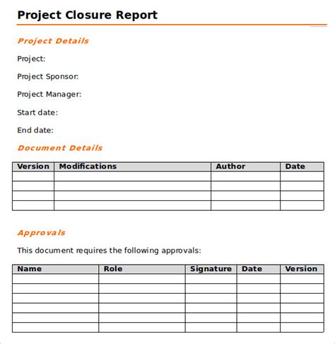 9 Sle Project Closure Report Template Exles Sle Templates Project Closure Report Template Free