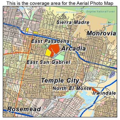 arcadia california map aerial photography map of arcadia ca california