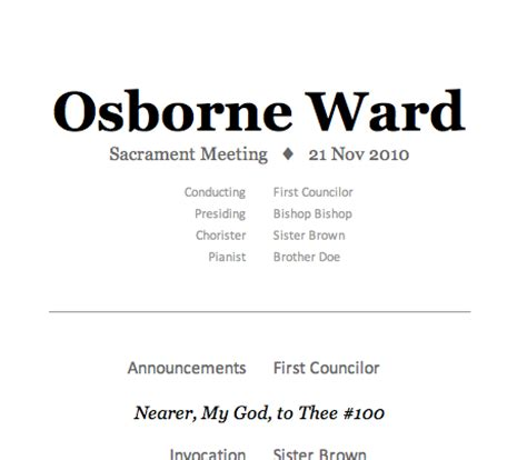 lds sacrament meeting program template lds sacrament program template quotes