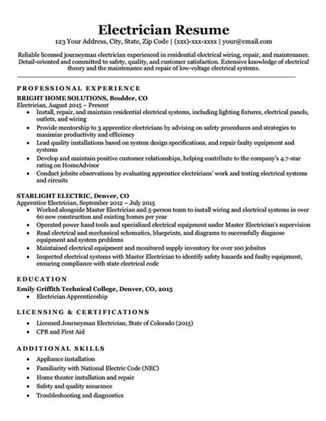 Electrician Resume Sle Writing Tips Resume Companion Master Electrician Resume Template