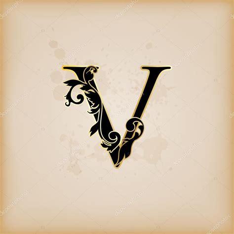 vintage initialen brief v stockvector 169 pocike 12548375