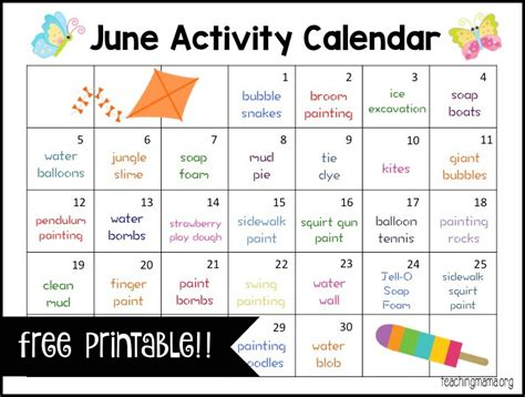 Activity Calendar June Activity Calendar Teaching