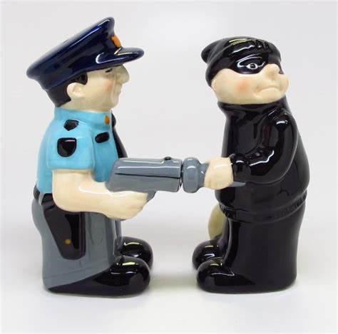 funny salt and pepper shakers cop and robber funny magnetic salt pepper shaker set s p