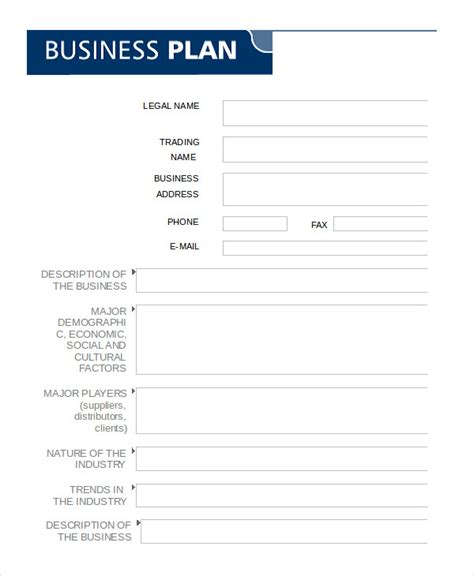 blank template for business plan business plan template in word 10 free sle exle