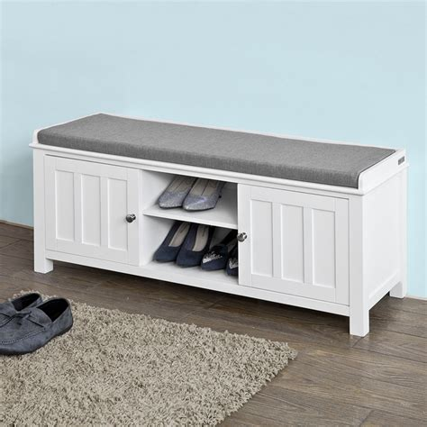 shoe bench with cushion sobuy 174 shoe storage bench with doors storage cubes seat