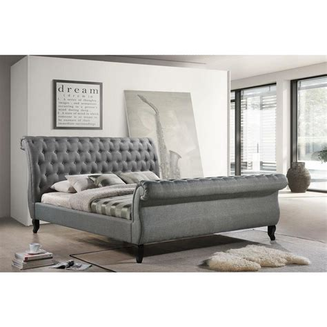 luxeo nottingham gray king sleigh bed lux  gry