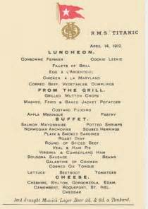 titanic class menu dining on the titanic diana overbey