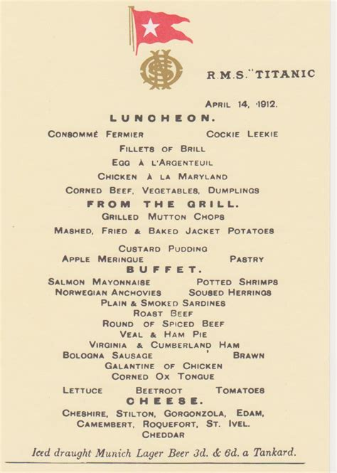 Titanic Menus | dining on the titanic diana overbey