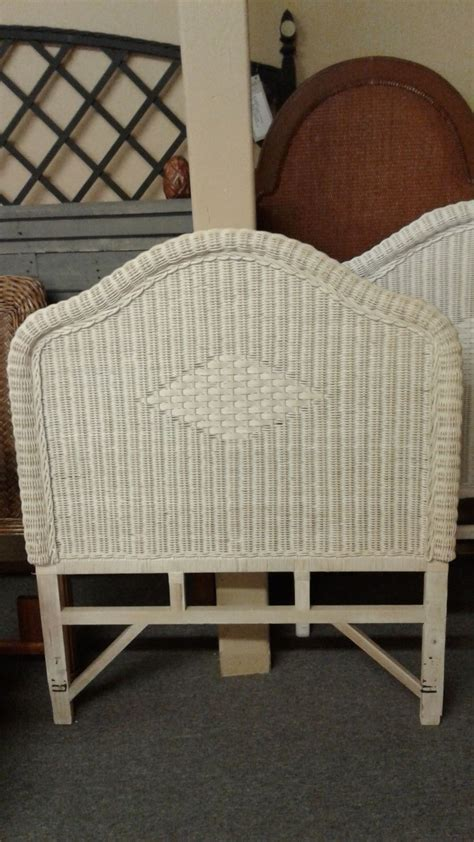 white washed wicker headboard delmarva furniture consignment