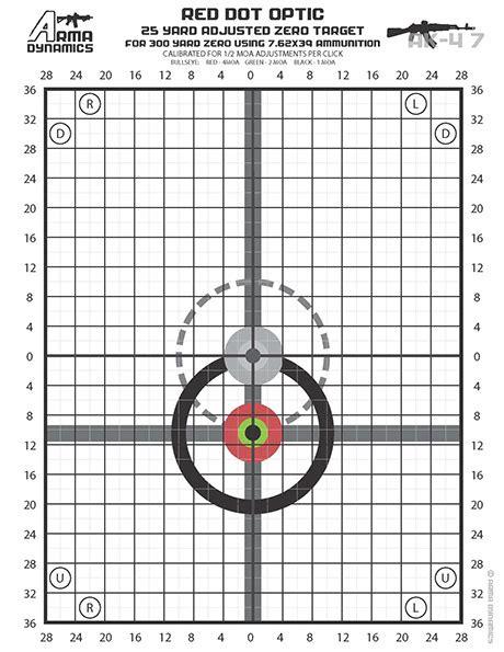 printable ak zero targets free printable zero targets optimized for red dot style