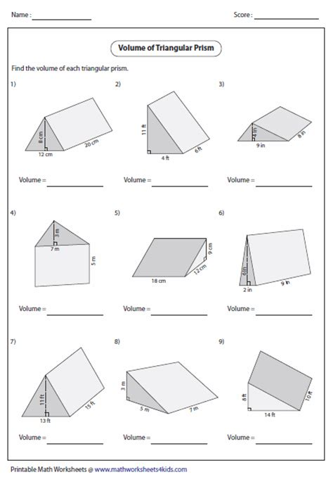 Surface Area Of Triangular Prism Worksheet by Surface Area Of Triangular Prisms Worksheet Abitlikethis