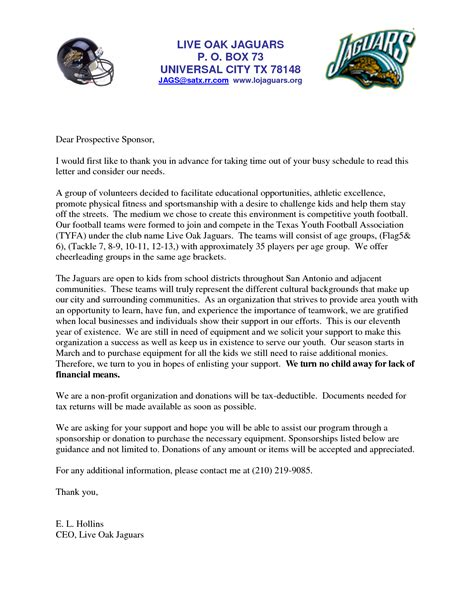 Sponsorship Letter Ideas sle sponsorship request letter for youth sports team