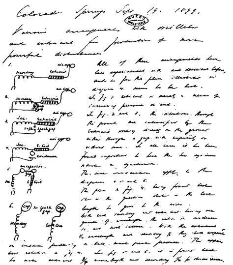 Nikola Tesla Notes Colorado Springs Notes October 1 31 1899 Open Tesla