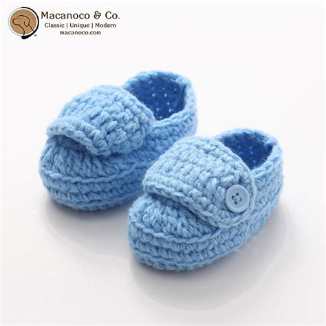 Blue Gypsea Crochet 1 baby crochet button loafer shoe blue macanoco and co