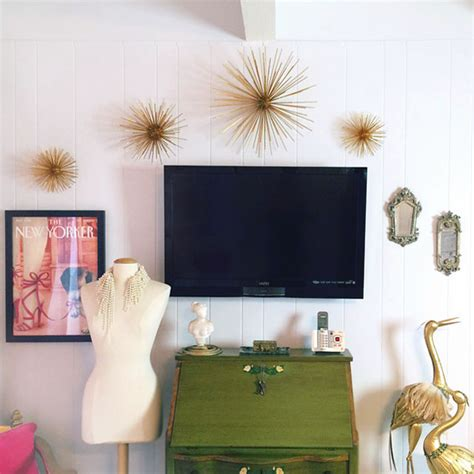 diy gold sea urchin starburst wall decor tutorial - Diy Office Wall Decor