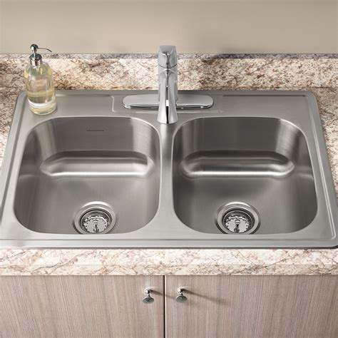 Kitchen With Two Sinks Colony 33x22 Bowl Kitchen Sink Kit With Faucet And Drain American Standard