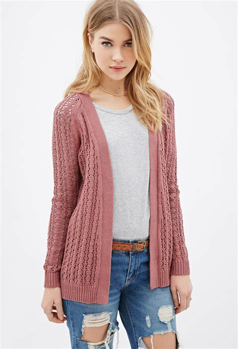 knit cardigan forever 21 forever 21 ribbed open knit cardigan in purple lyst
