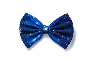hair bow blue black galaxy printed hair bow