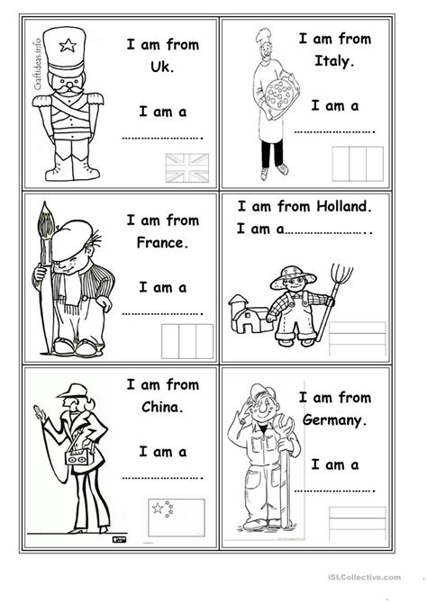 free printable english worksheets occupations occupations and countries worksheet free esl printable